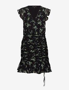 Print Ruched Mini Dress - kort kjoler - black floral