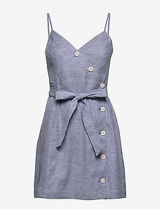 Linen-Cotton Button-Front Mini Dress - short dresses - light blue