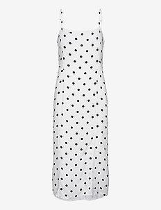 ECOVERO™ Square-Neck Midi Dress - midi kjoler - white dot