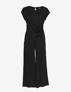 Tie-Front Cropped Jumpsuit - combinaisons - black k-100