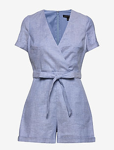 Cotton-Linen Blend Romper - jumpsuits - light blue
