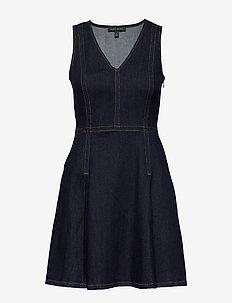 Denim Fit & Flare Dress - farkkumekot - indigo
