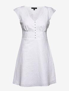 Linen-Cotton Button-Front Mini Dress - kort kjoler - white