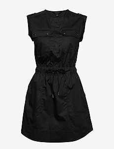 Utility Shirt Dress - shirt dresses - black k-100