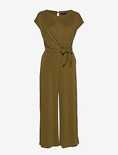 Sandwash Tie-Front Cropped Jumpsuit - kombinezony - cindered olive