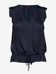 Soft Satin Ruffle Top - bluzki bez rękawów - navy