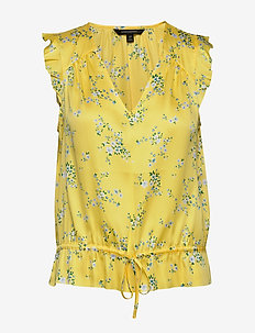 Soft Satin Ruffle Top - blouses sans manches - yellow floral