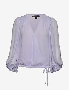 Puff-Sleeve Wrap Top - blouses à manches longues - periwinkle sp00