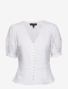 Linen-Cotton Peplum Top - t-shirts - white