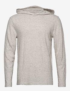 Vintage 100% Cotton T-Shirt Hoodie - basic sweatshirts - oatmeal htr b0279