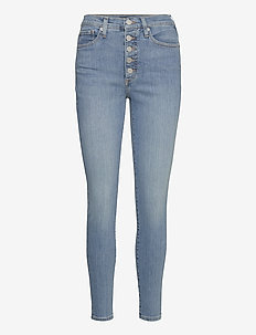 High-Rise Skinny Button-Fly Jean - slim jeans - medium wash