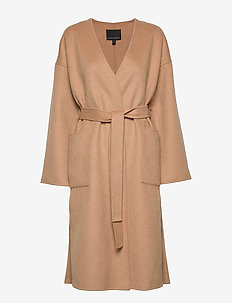J DOUBLE FACE DROP SHOULDER WRAP COAT - wool coats - camel