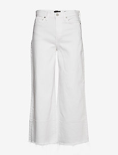 High-Rise Wide-Leg Cropped Jean - pantalons larges - vwhite