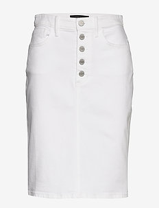 Button-Fly Denim Pencil Skirt - denim skirts - white denim