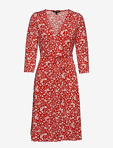 Print Wrinkle-Resistant Wrap Dress - slå-om-kjoler - pink floral