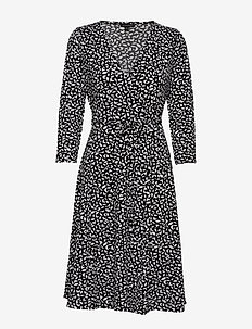 Print Wrinkle-Resistant Wrap Dress - wrap dresses - small br flo leaf cool