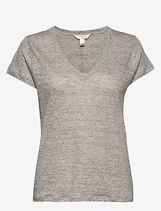 Linen V-Neck T-Shirt - t-shirts - light grey heather