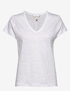 Linen V-Neck T-Shirt - t-shirts - vwhite