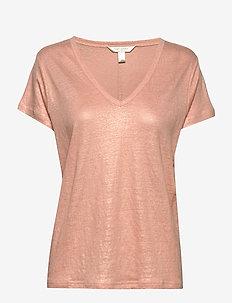 I SPR20 LINEN FOIL VEE - t-shirts - peach vibes