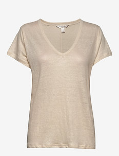 I SPR20 LINEN FOIL VEE - t-shirts - sand1