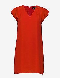 I RUFFLED MINI SWING DRESS - HOT RED