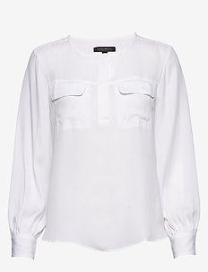 J LS SLIT NECK WITH FRONT FLAP POCKETS SOLIDS - long-sleeved shirts - white 500