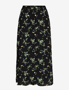 JAPAN EXCLUSIVE Floral Midi Skirt - jupes midi - black ditsy floral