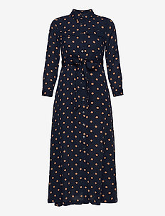 JAPAN EXCLUSIVE Print Maxi Shirt Dress - shirt dresses - navy