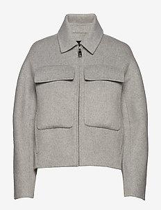 J DOUBLE FACE CROP UTILITY JACKET - vestes en laine - light grey