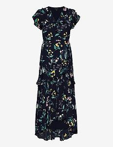 I SS VNECK HI LOW MAXI - omlottklänning - navy floral