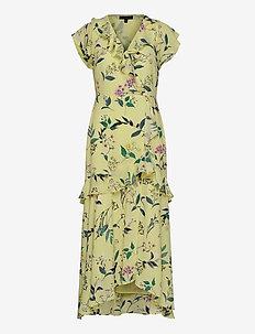 I SS VNECK HI LOW MAXI - slå-om-kjoler - yellow floral