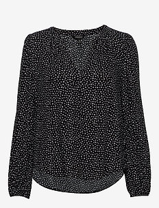 ECOVERO™ Puff-Sleeve Blouse - blouses à manches longues - brlinearleavesprintblk