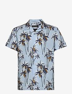 Slim Perforated Resort Shirt - overhemden korte mouwen - sky blue