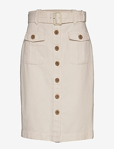 Heritage Cotton-Linen Safari Skirt - midi kjolar - transition cream