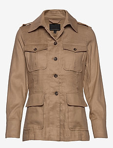 Linen-Cotton Safari Jacket - utility jackets - khaki