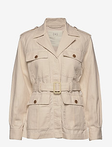 Heritage Cotton-Linen Safari Jacket - utility jackets - transition cream
