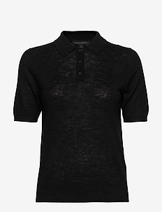 Linen-Blend Sweater Polo - knitted tops - black