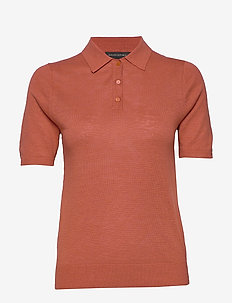 Linen-Blend Sweater Polo - knitted tops & t-shirts - copper clay