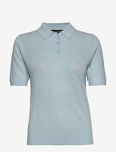 Linen-Blend Sweater Polo - knitted tops & t-shirts - light blue