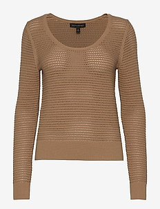 Pointelle Cropped Sweater - pulls - afternoon latte