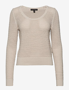 Pointelle Cropped Sweater - pulls - natural