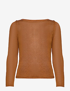 Linen-Blend Boat-Neck Sweater - pulls - chai spice