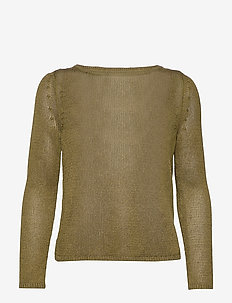 Linen-Blend Boat-Neck Sweater - pulls - cindered olive