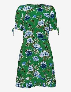 ECOVERO™ Puff-Sleeve Dress - short dresses - green floral botanical
