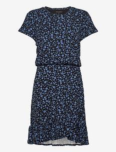 Flounce-Hem T-Shirt Dress - wrap dresses - navy ditsy floral