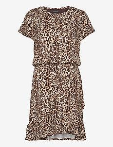 Flounce-Hem T-Shirt Dress - wrap dresses - neutral leopard