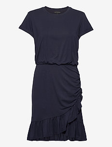 Flounce-Hem T-Shirt Dress - wrap dresses - preppy navy