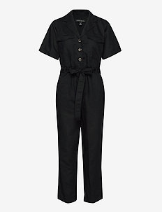 Linen-Cotton Utility Jumpsuit - buksedragter - black