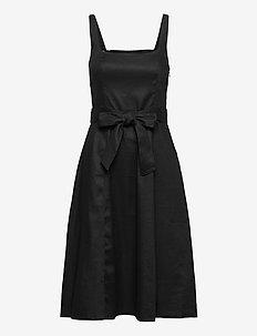 Linen-Cotton Square-Neck Dress - midi dresses - black k-100