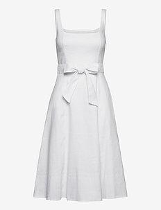 Linen-Cotton Square-Neck Dress - midi dresses - white